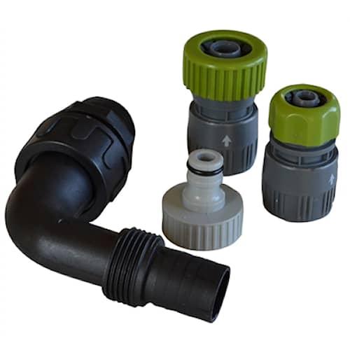 1 vinkelanslutning m/fitting för tryckpump