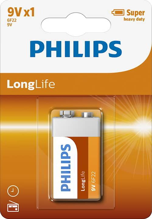Philips Batteri Longlife 9V/6LF22 1-pack