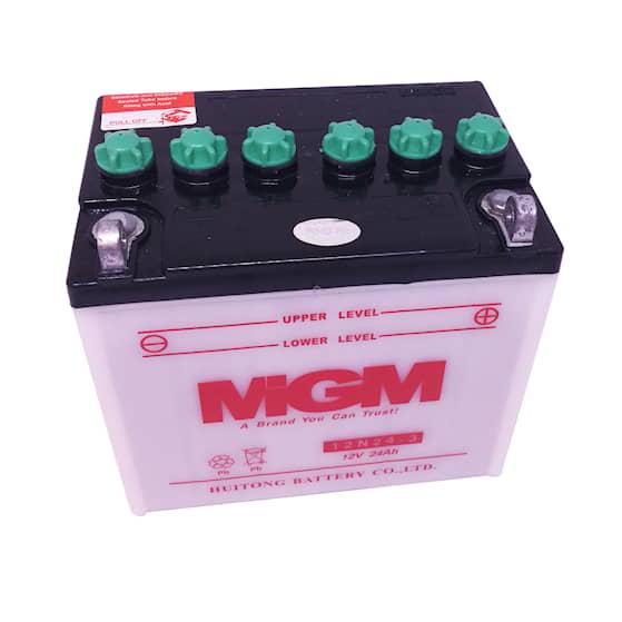 Batteri 12N24-3 för trädgårdstraktorer