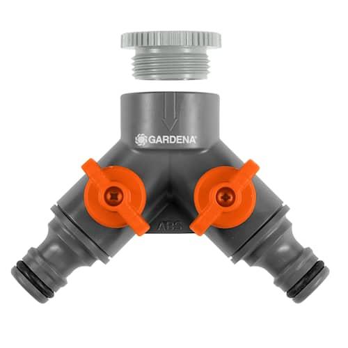 Gardena 2-vägskran med adapter 1/2''-3/4''